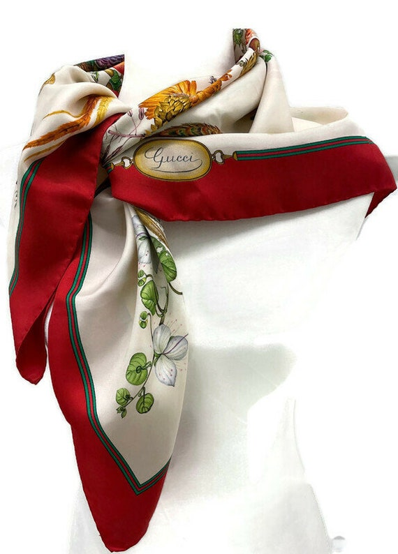 Authentic GUCCI Floral Scarf, Gucci Made in Italy… - image 1