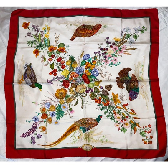 Vintage Gucci Red Spring Flowers 100% Silk Scarf