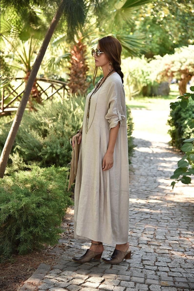 Long pure linen dress White long sleeve linen dress,Loose dress,Linen maxi dress,Oversized dress,Flax dress,100 /% linen boho dress