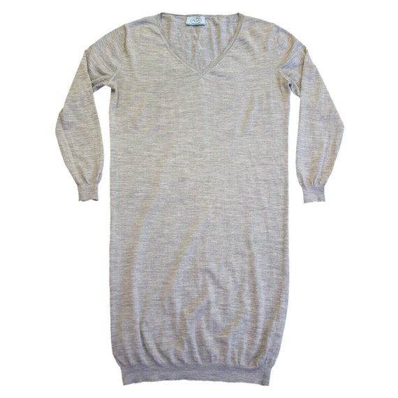 Prada Long Sleeve V Neck Dress | Vintage Italian L