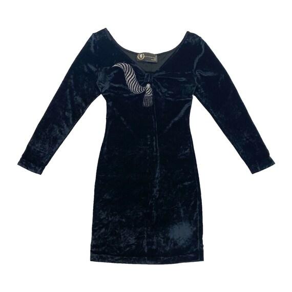 Roccobarocco Long Sleeve Velvet V Neck Dress | Vin