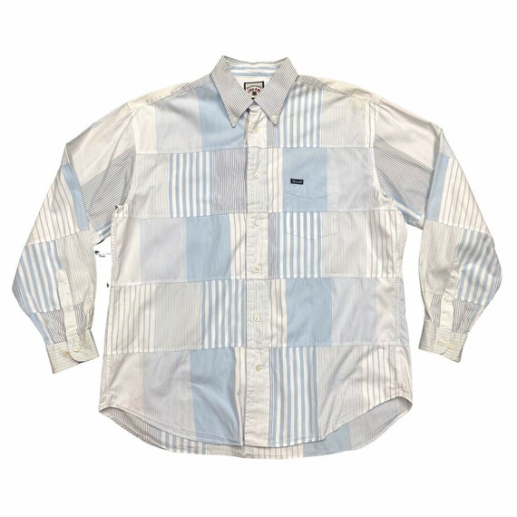 Vintage Men/'s Faconnable Shirt Stripe Crest 90/'s Retro Large L Button Down