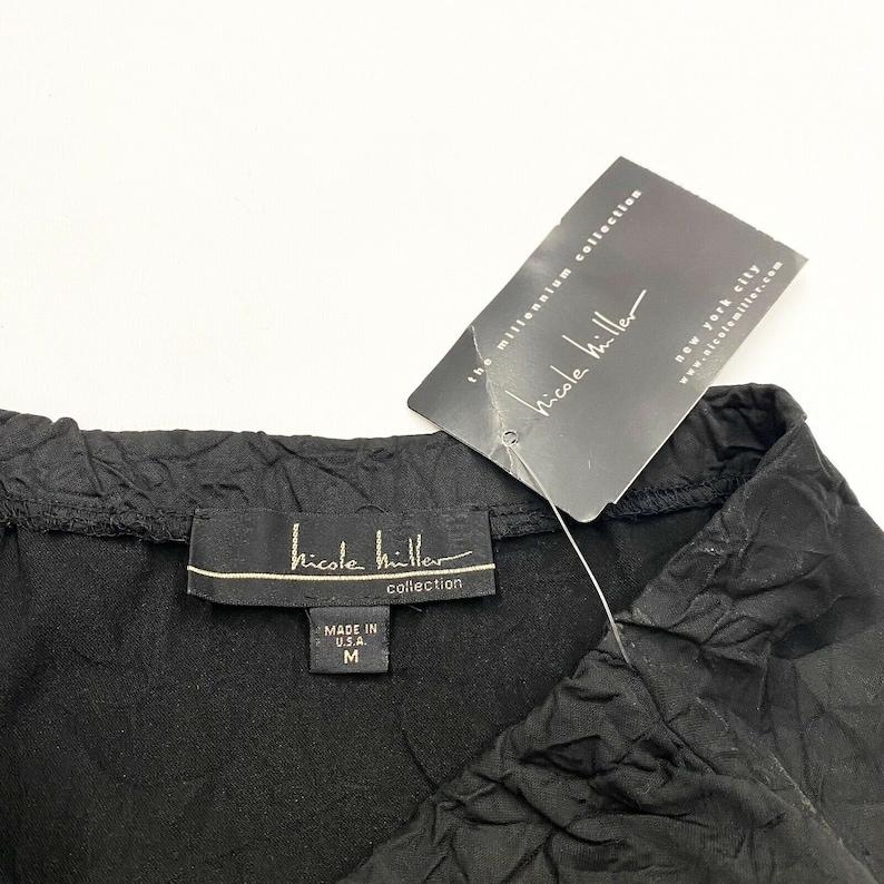 Nicole Miller Crinkled Maxi Skirt Vintage High End Stretchy Designer Black VTG