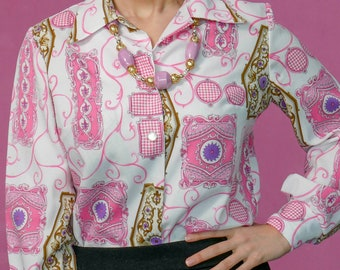 Vintage 70s / Pink Novelty Print Blouse / By Pykettes
