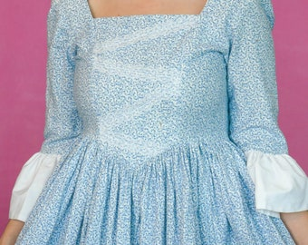 Vintage Blue and White Floral Prairie Dress / Victorian-esque