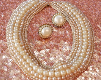 Vintage Faux Pearl Collar Necklace With Matching Earrings / Mid-Century