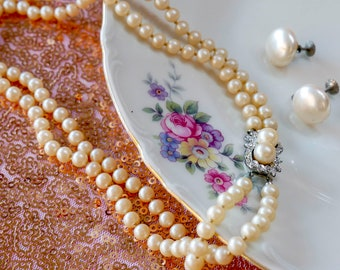Vintage Faux Pearls Set / Double-Strand Necklace and Screw Back Earrings
