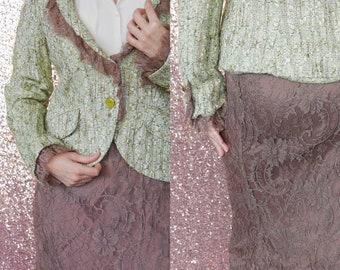 Vintage 2-Piece Lace Blazer & Skirt 2-Piece Set/ 90s/ AE Elegance Paris