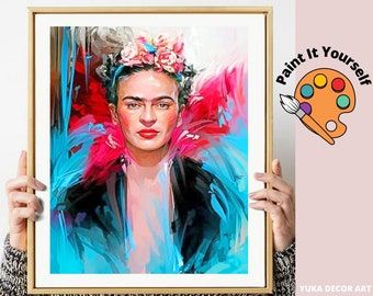 Pink Flowers Abstract Art,Easy DIY Beginners Acrylic Paint Kit Living Wall Art Decor Gift Frida Kahlo PAINT by NUMBER Kit for Adults