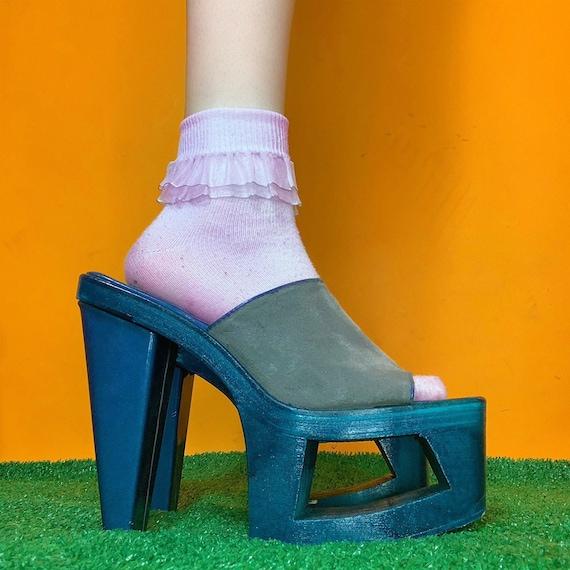 frosty teal cut out platform heels