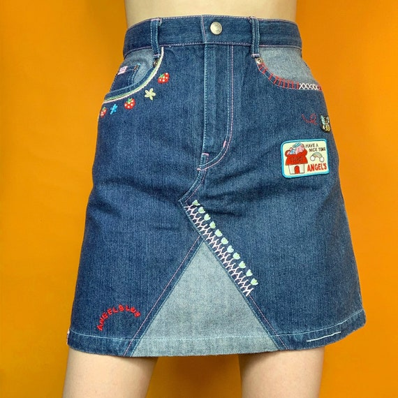 angel blue knit denim skirt - image 2