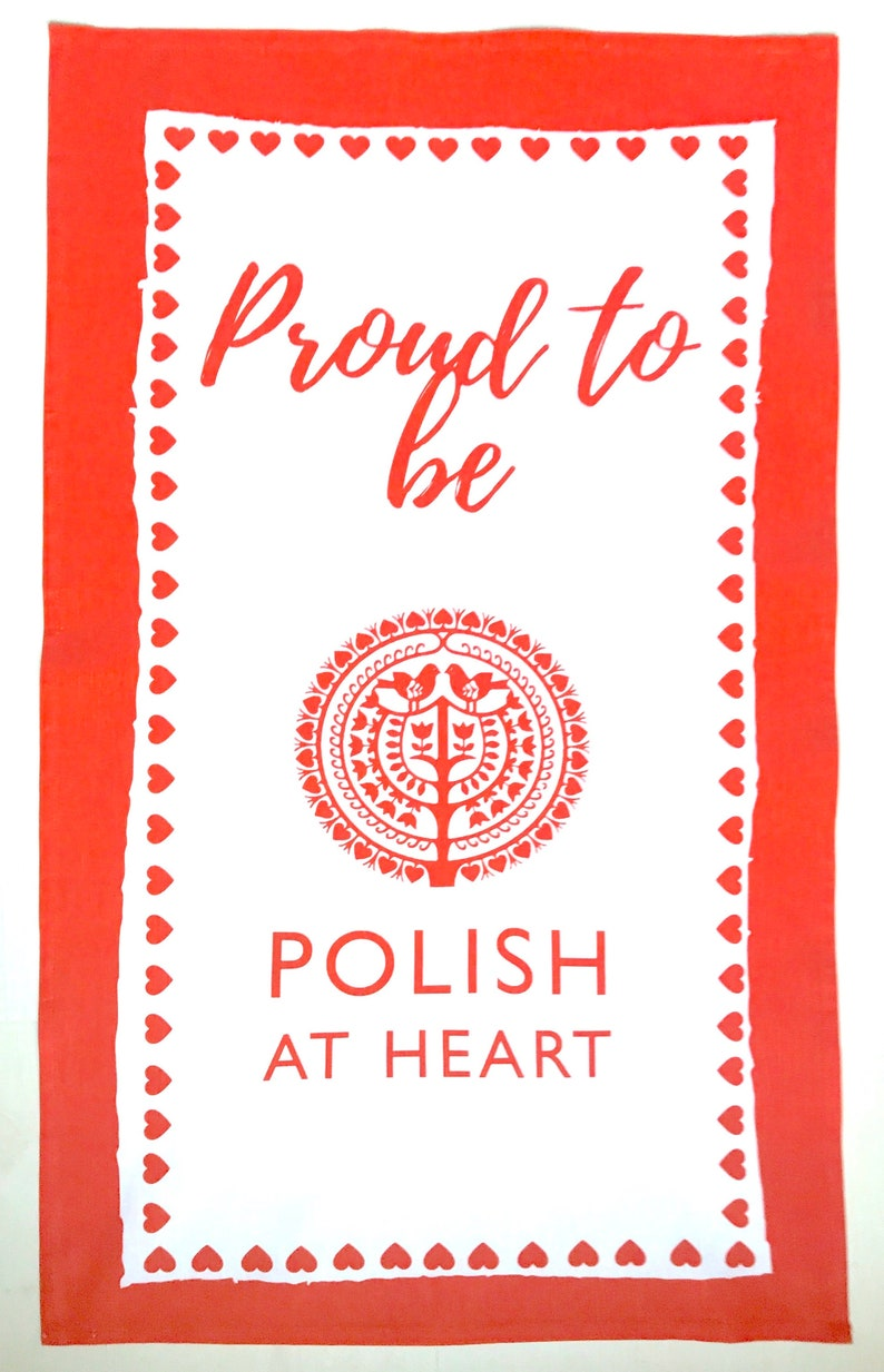 Proud to be Polish at Heart  Tea Towel image 0