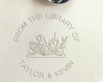 Floral Book embosser custom with your name/from the library embosser/personalized library stamp/custom book lover gift