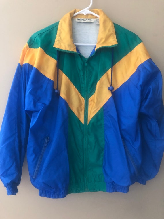 Vintage men's color blocked windbreaker