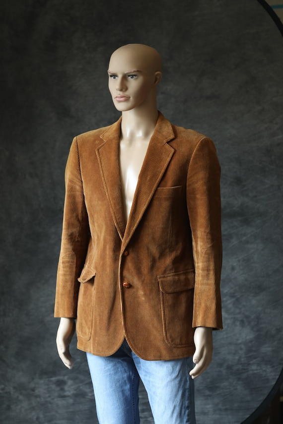 Vintage Tan Golden Men's Corduroy Blazer Jacket - image 1
