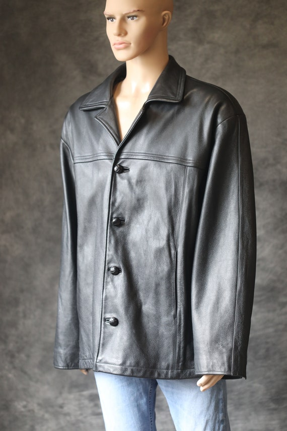 Vintage 90's Black Leather Jacket Coat XL