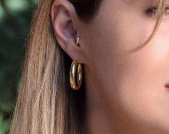 Gold filled hoops, thick hoop earrings
