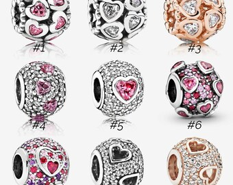 New Rose Gold Tumbling Hearts Charms925 Sterling Silver fully stampedBeads,Charms
