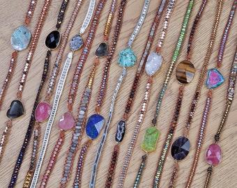 Boho Leather Cuff Hiker/'s Bracelet Outdoors Wanderlust Jewelry Hippie Cuff Bracelet Mountain Bracelet Natural Beaded Cuff Bracelet