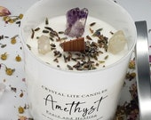 Amethyst Crystal Candle -8 oz Soy Wax - Hidden Treasure