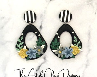Polymer Clay Floral Earrings. Polymer Clay Statement Earrings. Dangle earrings Handmade Polymer Clay Jewelry. Gift for Her!