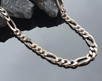 Figaro Solid Sterling Silver 925 Chain Necklace 925 Sterling Silver Chain Optional Gold or Rhodium Plated Fancy Figaro Chain