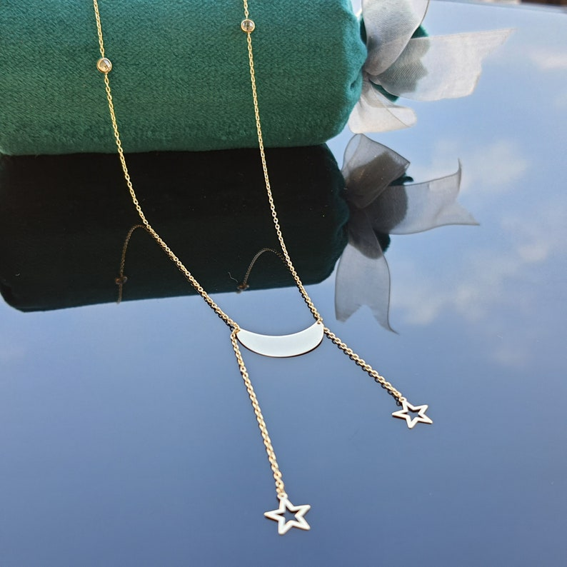 Crescent Moon Necklace Christmas Gift 14k Solid Gold Moon Double Star Necklace Girlfriend Gift Solid Gold Crescent Necklace