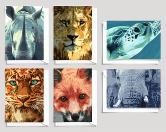 Animal Greeting Cards, Birthday, Thank you, Blank Cards, Lion, Leopard, Elephant, Rhino, Turtle, Fox