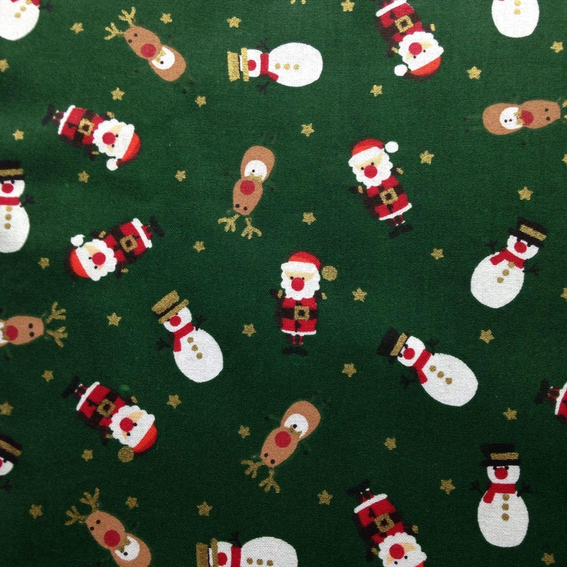 FATHER CHRISTMAS  100/% Cotton Fabric Material BY HALF METRE