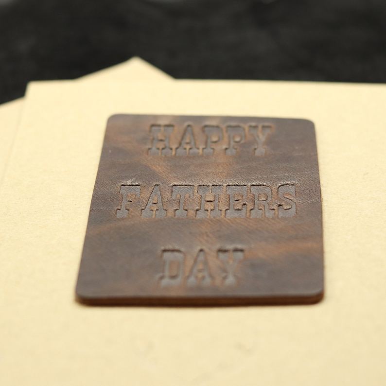 Hand Stamped Leather Fathers Day Card