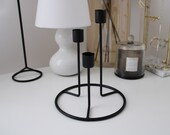 Black triple candleholder, pillar candle candelabra, three candle stand, Nordic black decor, black interior, black candle stands, metal hold