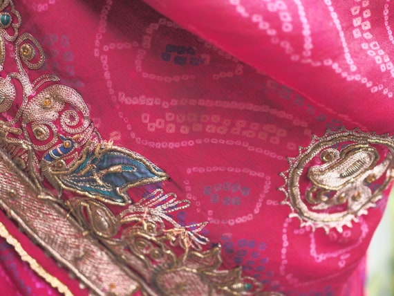 Ancient Indian Silk Ghunghat with Zardosi Embroide