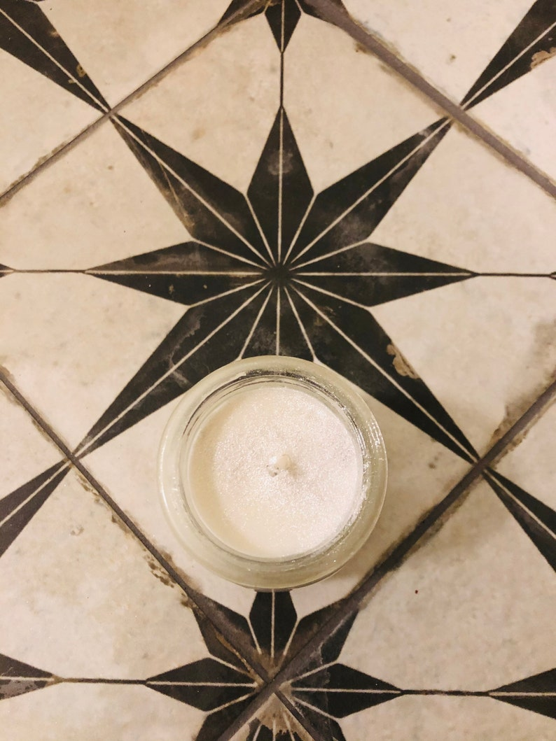 White glitter Santal scented candle