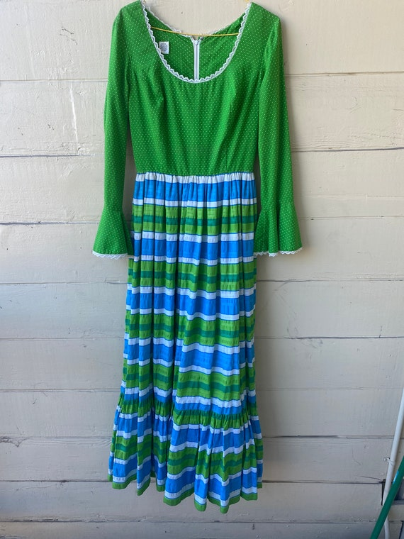 Spring green and sky blue striped and dotted maxi