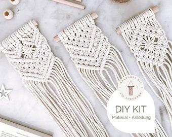 Set of 3 Mini Macramé DIY Kit, incl. Video, Craft Set, Starter Kit for a Macramé Gift Boho Decoration Christmas Decoration