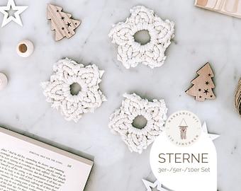Set of 3, 5, or 10 macramé stars, gift boho decoration Christmas decoration