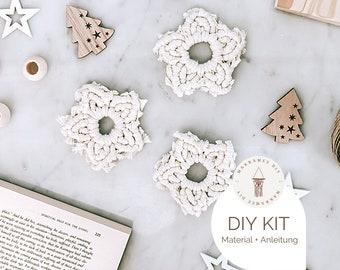 Set of 3, 5 or 10 Macramé star DIY kit, incl. video, craft set, starter kit for a macramé gift Boho decoration Christmas decoration