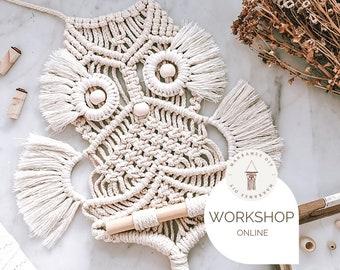 Online workshop macramé owl incl. material, wallhanging, wall decoration, workshop + free eBook