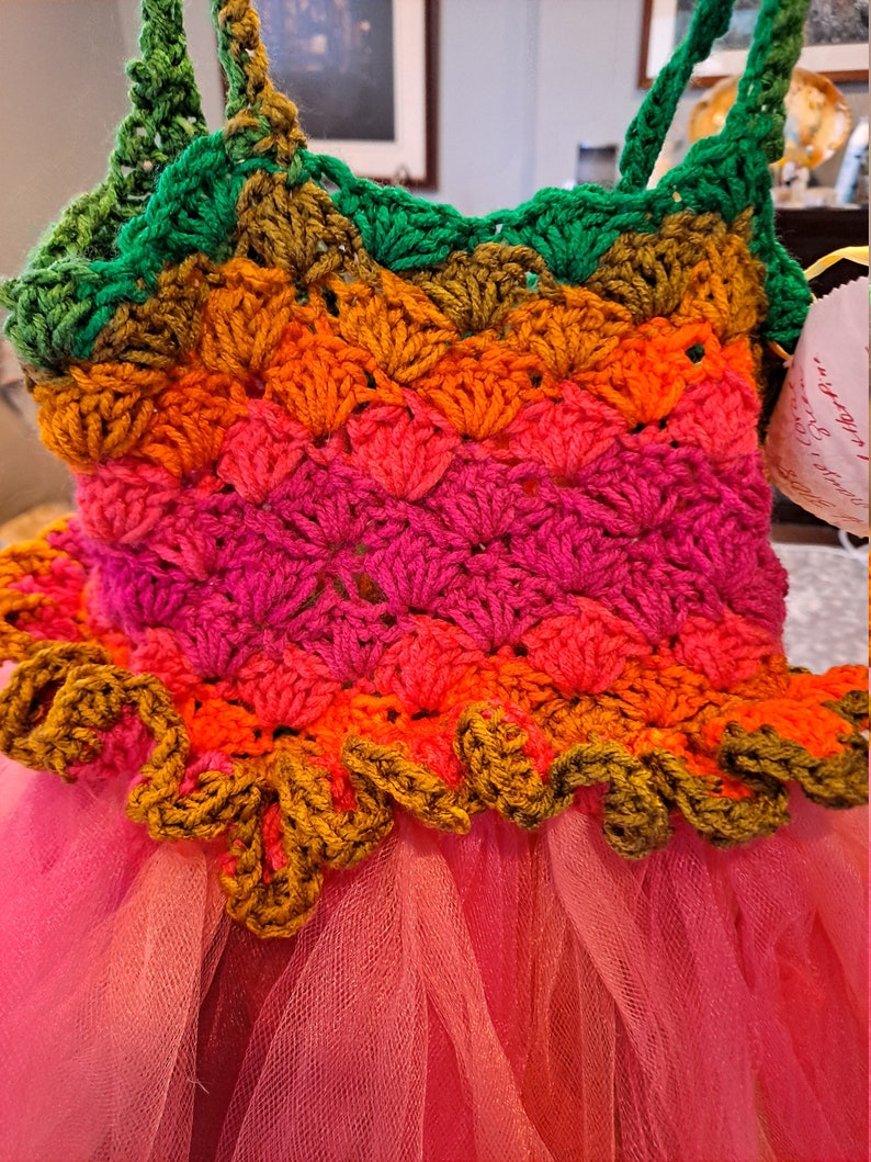 Tutu/'s ~ Crochet Variegated in CoralsPinks Empire Waisted with Orange Ivory Tulle Pink