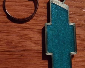 Chevy Keychain with Epoxy Accents
