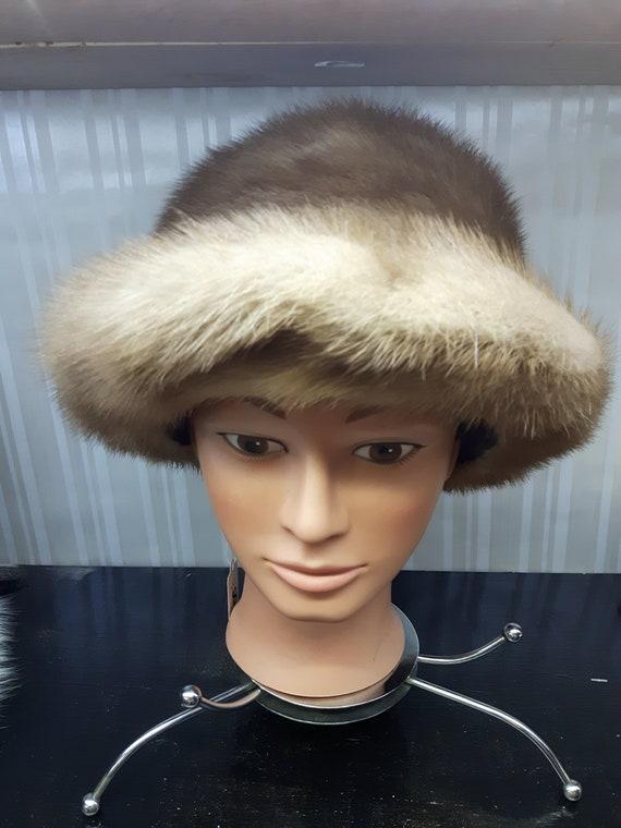 Vintage 1960's Pastel Mink Fur Hat