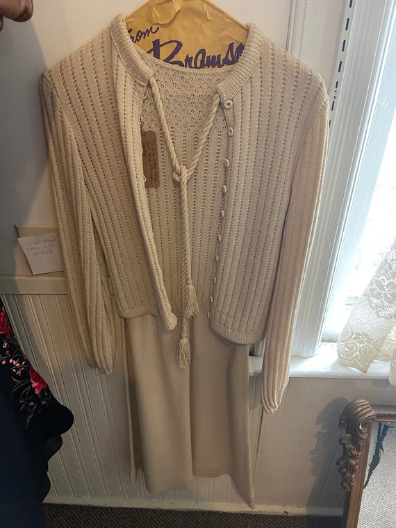Vintage Beige Knit Outfit Dress & Cardigan - image 1