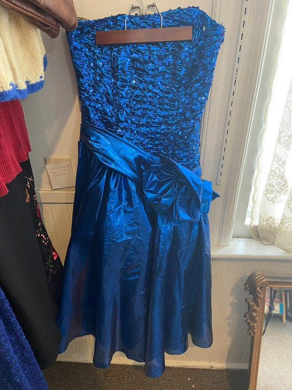 1980s Blue Lamè Prom Dress