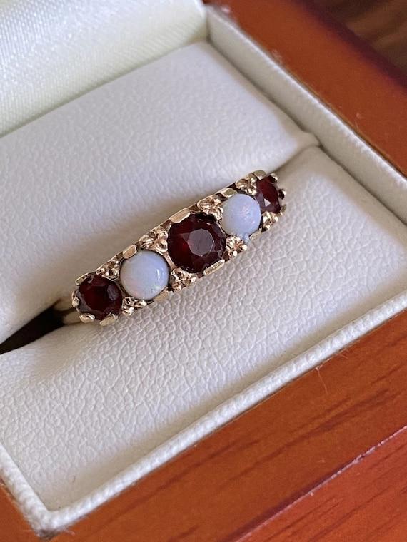 70s Vintage Opal Garnets 9k Gold Ring