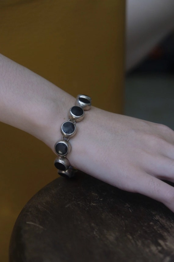 60s Mexican Style Onyx 925 Silver Bracelet