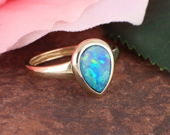 Unique Blue-Green Boulder Opal Doublet Ring in 14K Yellow Gold