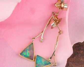 Stunning Ethiopian Crystal Opal Earrings in Sterling Silver and 22K and 14K Gold