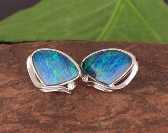 Stunning Blue-Green Boulder Opal Doublets with Diamonds Set in 14K White Gold Earrings