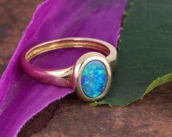 Beautiful Oval Boulder Opal Doublet Ring 14KYG