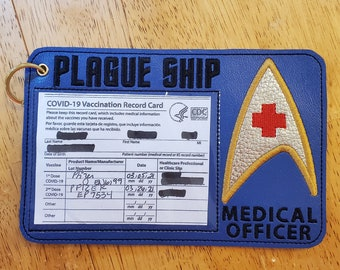 Space Trek Covid Vaccination Card Holder, Medical Officer, Favorite Retro Sci-Fi TV,  Embroidered Faux Leather